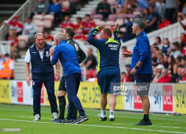 Middlesbrough Manager Neil Warnock shouts at the 4th official following a delay in a Middlesbrough substitution during the Sky Bet Championship match...