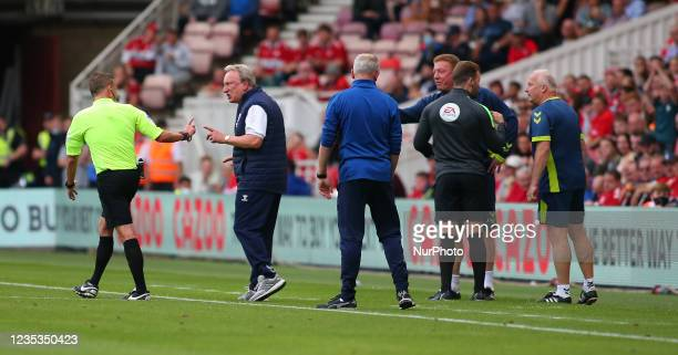 Middlesbrough Manager Neil Warnock shouts at the referee after receiving a caution from him during the Sky Bet Championship match between...