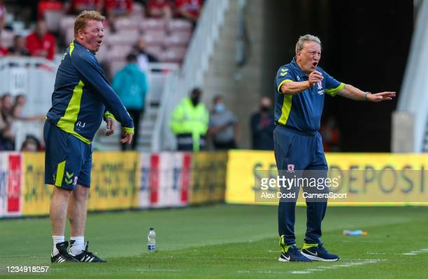 Middlesbrough manager Neil Warnock shouts instructions to his team from the technical area during the Sky Bet Championship match between...