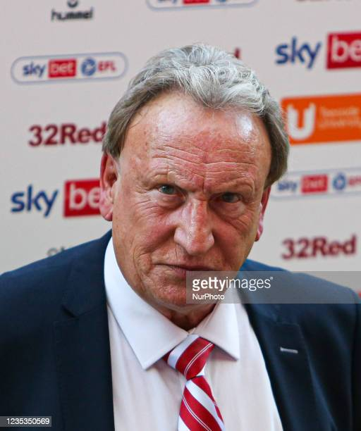Middlesbrough Manager Neil Warnock speaks to the press following their 2-1 defeat to Blackpool during the Sky Bet Championship match between...