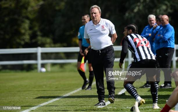 Middlesbrough manager Neil Warnock stands on the sidelines during the Pre Season Friendly between Newcastle United and Middlesbrough FC at the...