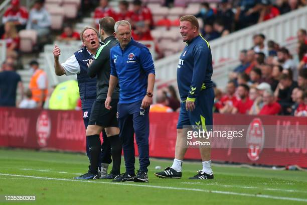 Middlesbrough Manager Neil Warnock yells at the 4th official during the Sky Bet Championship match between Middlesbrough and Blackpool at the...