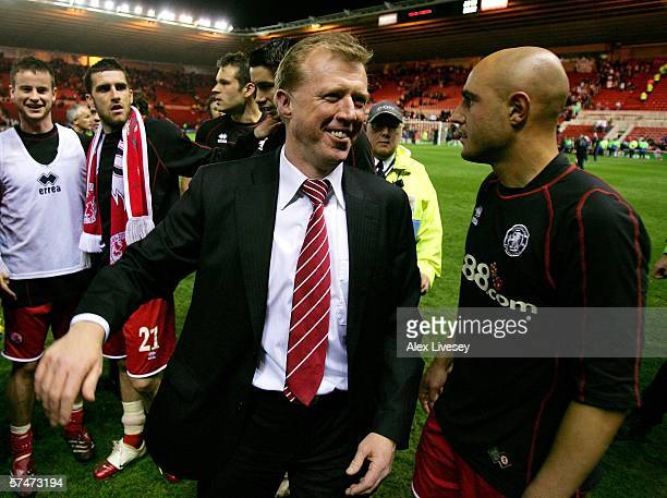 Middlesbrough Manager Steve McClaren celebrates his team's victory with winning goalscorer Massimo Maccarone at the end of the UEFA Cup Semi Final,...