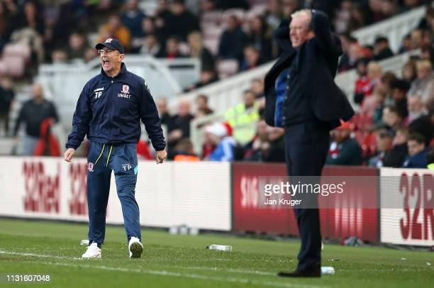Middlesbrough manager Tony Pulis and Queens Park Rangers manager Steve McClaren react during the Sky Bet Championship match between Middlesbrough and...