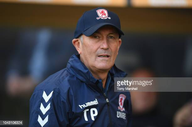 Middlesbrough Manager Tony Pulis during the Sky Bet Championship match between Hull City and Middlesbrough at KCOM Stadium on September 29 2018 in...