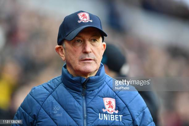Middlesbrough Manager Tony Pulis during the Sky Bet Championship match between Aston Villa and Middlesbrough at Villa Park Birmingham on Saturday...