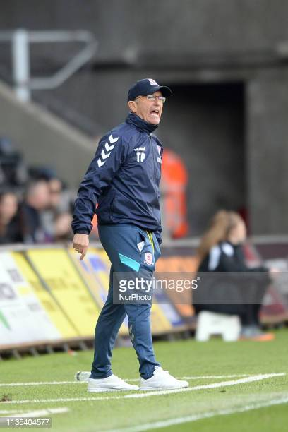 Middlesbrough manager Tony Pulis during the Sky Bet Championship match between Swansea City and Middlesbrough at the Liberty Stadium Swansea on...