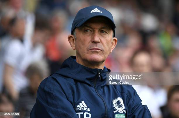 Middlesbrough manager Tony Pulis during the Sky Bet Championship match between Derby and Middlesbrough at iPro Stadium on April 21 2018 in Derby...