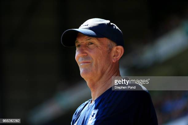 Middlesbrough Manager Tony Pulis during the Sky Bet Championship match between Ipswich Town and Middlesbrough at Portman Road on May 6 2018 in...