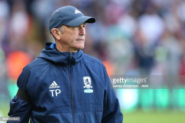Middlesbrough Manager Tony Pulis during the Sky Bet Championship Play Off Semi FinalSecond Leg match between Aston Villa and Middlesbrough at Villa...