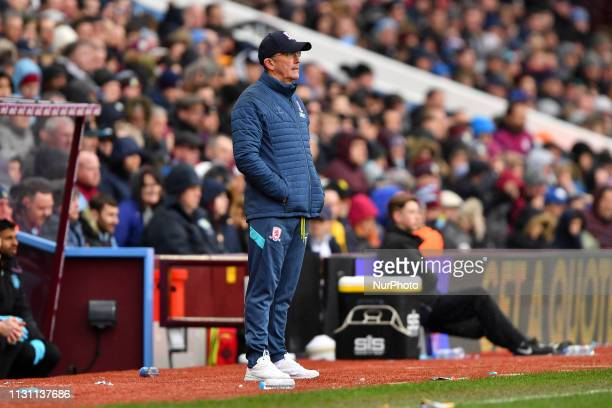 Middlesbrough Manager Tony Pulis looking dejected during the Sky Bet Championship match between Aston Villa and Middlesbrough at Villa Park...