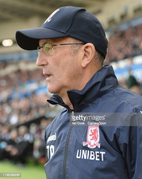Middlesbrough manager Tony Pulis prior to kick off during the Sky Bet Championship match between Swansea City and Middlesbrough at Liberty Stadium on...