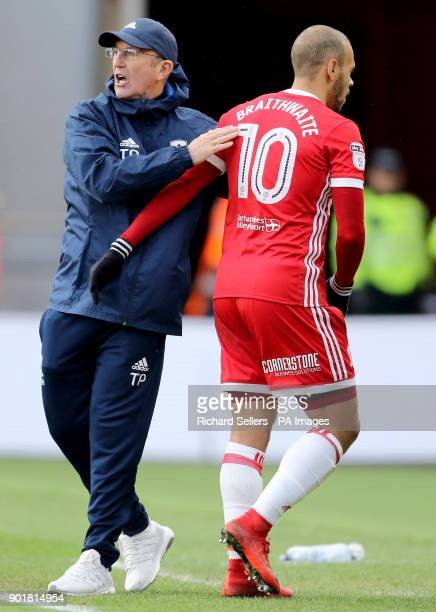 Middlesbrough manager Tony Pulis subs Martin Braithwaite during the FA Cup third round match at the Riverside Stadium Middlesbrough