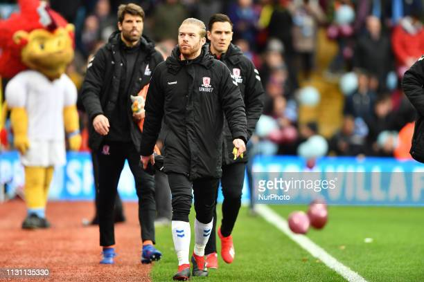 Middlesbrough midfielder Adam Clayton makes his way to the bench during the Sky Bet Championship match between Aston Villa and Middlesbrough at Villa...