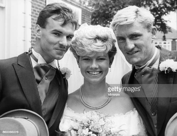 Middlesbrough player Peter Beagrie marries wife Lynn with team mate Tony Mowbray as best man 28th July 1986