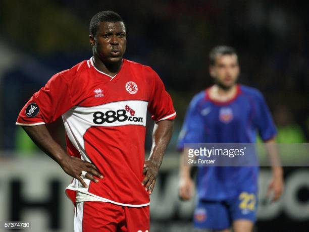 Middlesbrough player Yakubu looks on dejectedly during the UEFA Cup semi final first leg between Steaua Bucharest and Middlesbrough at the Lia...