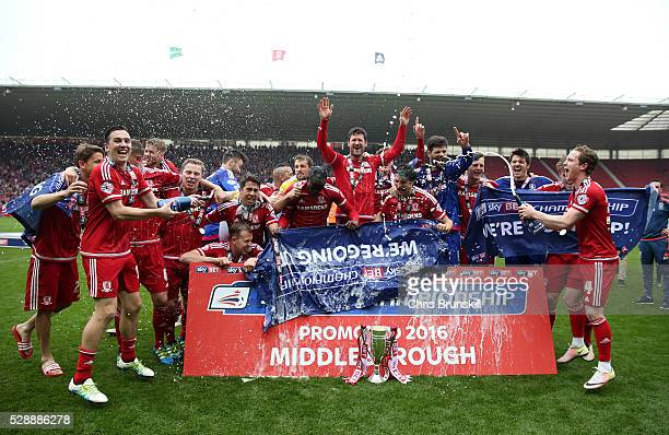 Middlesbrough players celebrate their promotion to the Premier League after the Sky Bet Championship match between Middlesbrough and Brighton and...