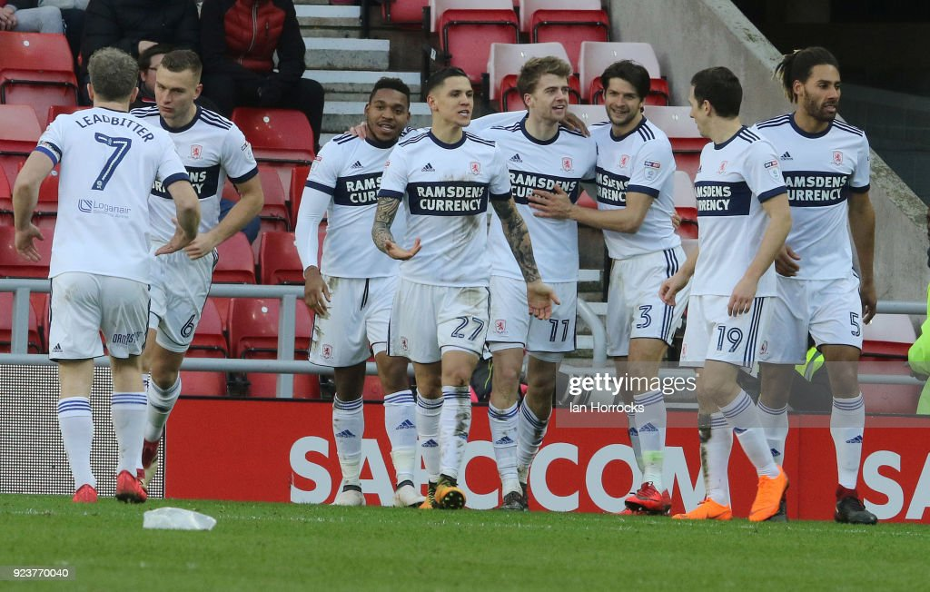 Middlesbrough players celebrate their second goal during the Sky Bet Championship match between Sunderland and Middlesbrough at Stadium of Light on February 24, 2018 in Sunderland, England.