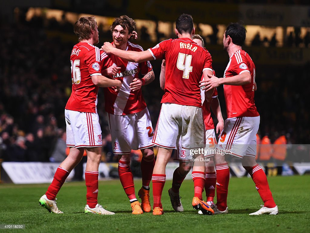 Middlesbrough players celebrate victory after the Sky Bet Championship match between Norwich City and Middlesbrough at Carrow Road on April 17, 2015 in Norwich, England.