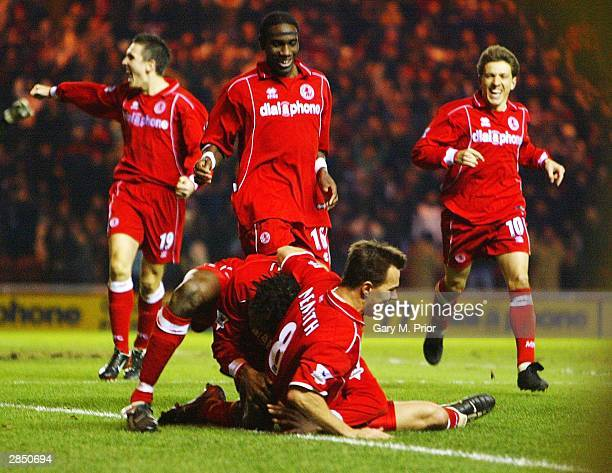 Middlesbrough players congratulate goalscorer Szilard Nemeth during the FA Barclaycard Premiership match between Middlesbrough and Fulham at the...