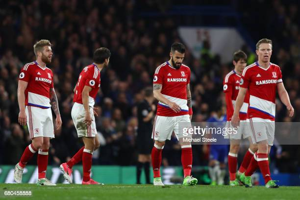 Middlesbrough players look dejected after Chelsea score their third goal during the Premier League match between Chelsea and Middlesbrough at...