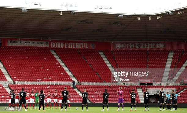 Middlesbrough players pay their respects to the late Jack Charlton during the Sky Bet Championship match between Middlesbrough and Bristol City at...
