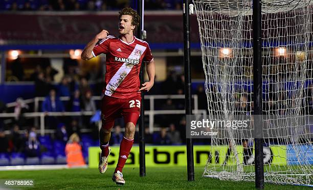 Middlesbrough striker Patrick Bamford celebrates after scoring the equaliser during the Sky Bet Championship match between Birmingham City and...