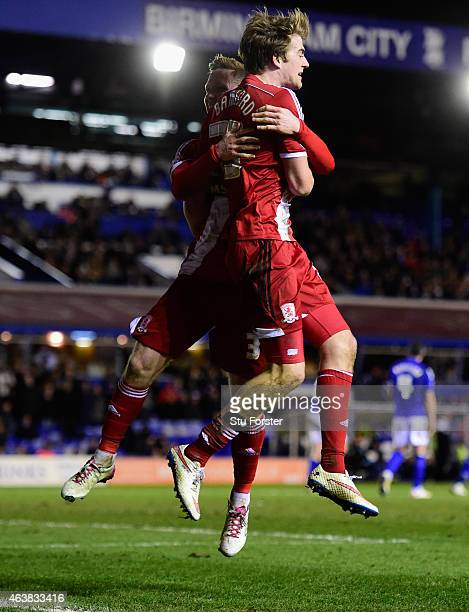 Middlesbrough striker Patrick Bamford celebrates after scoring the equaliser with Adam Forshaw during the Sky Bet Championship match between...