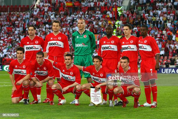 Middlesbrough team group prior to the UEFA Cup final between Middlesbrough and FC Sevilla at the PSV Stadium in Eindhoven on May 10 2006 Sevilla won...