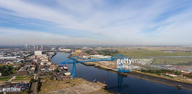 middlesbrough transporter bridge aerial photography, the tees river. - middlesbrough stock pictures, royalty-free photos & images
