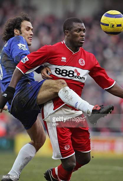 Middlesbrough's Yakubu vies with Chelsea's Ricardo Carvalio during the Premiership match between their teams at The Riverside Stadium 11 February...