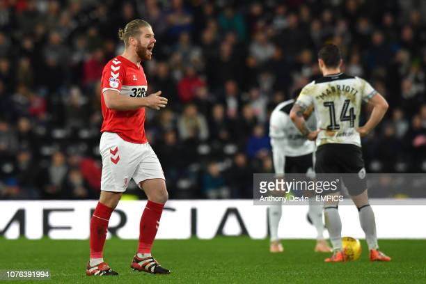 Middlesbrough's Adam Clayton celebrates as Middlesbrough's Jordan Hugill celebrates scoring his side's first goal of the game Derby County v...