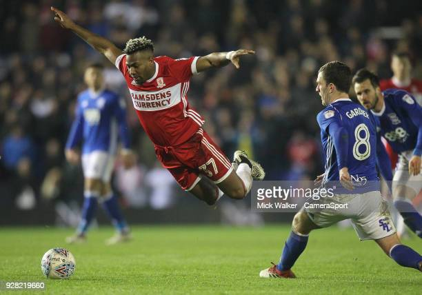 Middlesbrough's Adama TraorÈ in action with Birmingham City's Craig Gardner during the Sky Bet Championship match between Birmingham City and...