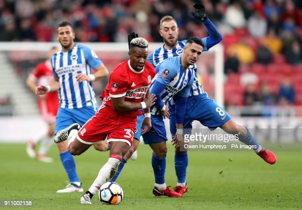Middlesbrough's Adama Traore and Brighton Hove Albion's Beram Kayal battle for the ball during the Emirates FA Cup fourth round match at the...