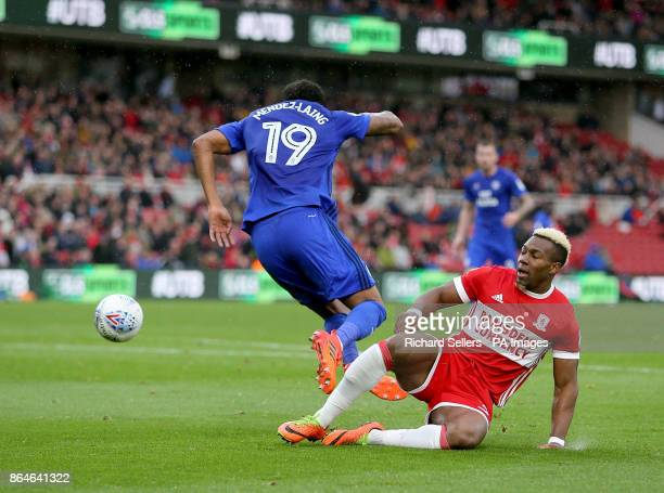 Middlesbrough's Adama Traore fouls Cardiff City's Nathaniel MendezLaing to concede a penalty during the Sky Bet Championship match at the Riverside...