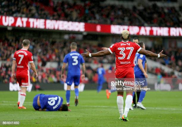 Middlesbrough's Adama Traore gestures after conceding a penalty during the Sky Bet Championship match at the Riverside Stadium Middlesbrough