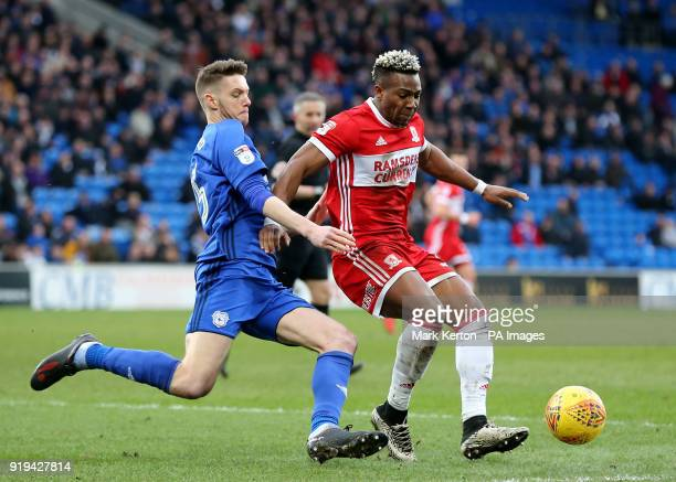 Middlesbrough's Adama Traore is tackled by Cardiff City's Greg Halford during the Sky Bet Championship match at The Cardiff City Stadium