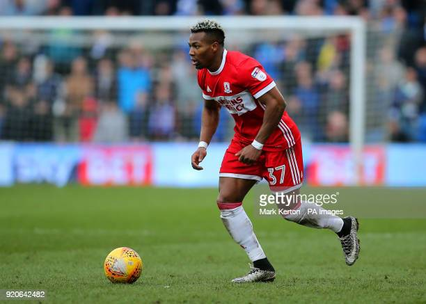 Middlesbrough's Adama Traore on the ball during the Sky Bet Championship match at The Cardiff City Stadium