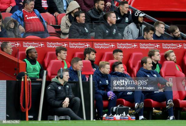 Middlesbrough's Adama Traore on the bench during the Sky Bet Championship match at the Riverside Stadium Middlesbrough