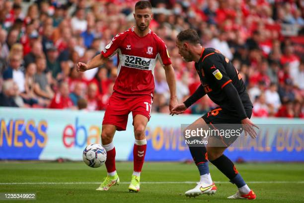 Middlesbrough's Andra porar takes on Blackpool's Richard Keogh during the Sky Bet Championship match between Middlesbrough and Blackpool at the...