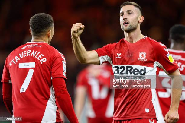 Middlesbrough's Andraz Sporar celebrates scoring the opening goal during the Sky Bet Championship match between Middlesbrough and Barnsley at...
