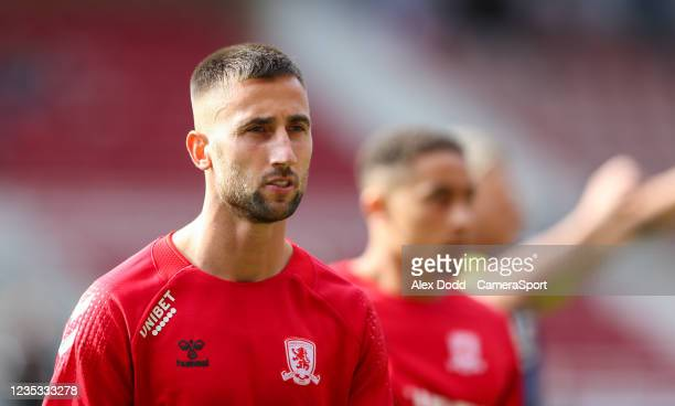 Middlesbrough's Andraz Sporar during the pre-match warm-up before the Sky Bet Championship match between Middlesbrough and Blackpool at Riverside...