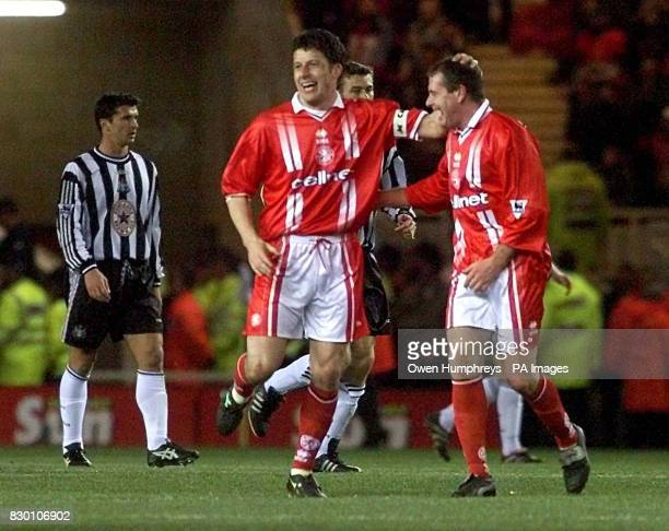Middlesbrough's Andy Townsend celebrates his goal with team mate Paul Gascoigne during today's December 6 Premiership clash Riverside Stadium PHOTO...