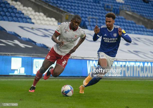 Middlesbrough's Anfernee Dijksteel gets away from Cardiff City's Josh Murphy during the Sky Bet Championship match between Cardiff City and...