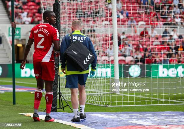 Middlesbrough's Anfernee Dijksteel leaves the field injured during the Sky Bet Championship match between Middlesbrough and Blackpool at Riverside...