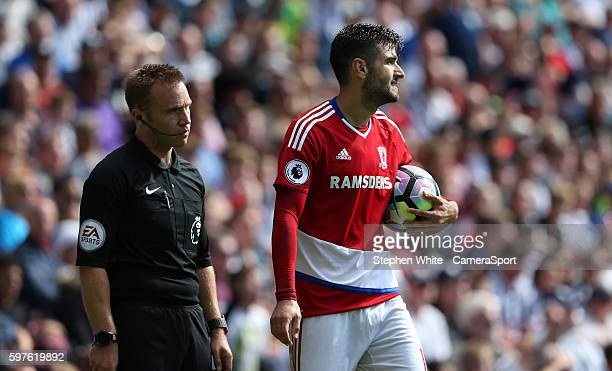 Middlesbrough's Antonio Barragan appeals to the assistant referee after he singled for a foul on West Bromwich Albion's Jose Salomon Rondon resulting...