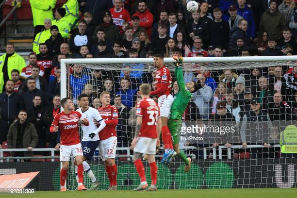 Middlesbrough's Ashley Fletcher and Tomas Mejias attempt to clear a Tottenham Hotspur cross during the FA Cup Third Round match between Middlesbrough...