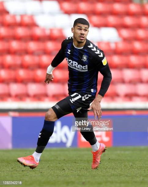 Middlesbrough's Ashley Fletcher during the Sky Bet Championship match between Barnsley and Middlesbrough at Oakwell Stadium on April 10, 2021 in...