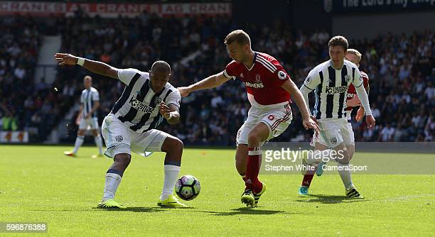 Middlesbrough's Ben Gibson blocks the way forward for West Bromwich Albion's Jose Salomon Rondon during the Premier League match between West...