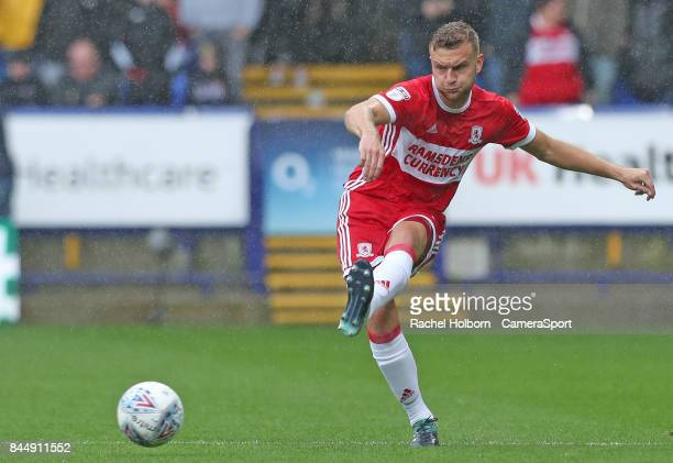 Middlesbrough's Ben Gibson during the Sky Bet Championship match between Bolton Wanderers and Middlesbrough at Macron Stadium on September 9 2017 in...
